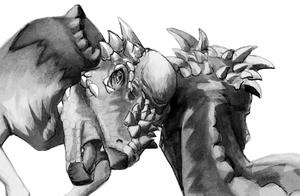 Pachycephalosauria - Restoration of head butting Pachycephalosaurus