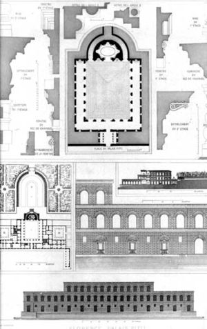 Palazzo Pitti - 19th-century architectural drawing and plan of the Palazzo Pitti