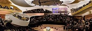 Music in Paris - The stage of the Philharmonie de Paris at La Villette, main venue of the Orchestre de Paris