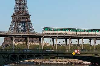 Paris Métro Line 6 - MP 73 stock train crosses the Seine via Pont de Bir-Hakeim