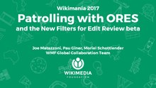 "frameless from the Wikimania 2017 presentation, ""Patrolling with ORES and the New Filters for Edit Review beta"""