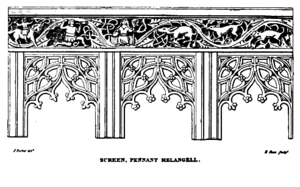 Melangell - Pen drawing of a rood screen that depicts the story of St. Melangell and Brochwel Yscythrog, Prince of Powys.