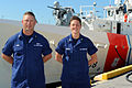 Petty officers stand at ease in front of the brand new USCGC Charles Sexton, 2014 01 28.jpg