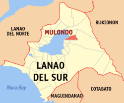 Map of Lanao del Sur with Mulondo highlighted
