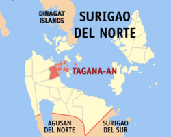 Map of Surigao del Norte with Tagana-an highlighted