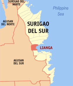 Map of Surigao del Sur with Lianga highlighted