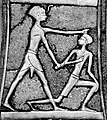 Pharaoh Ahmose I slaying a Hyksos (axe of Ahmose I, from the Treasure of Queen Aahhotep II).jpg