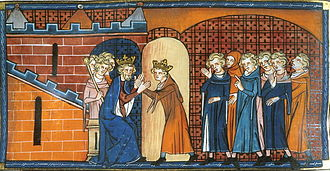 Arthur I, Duke of Brittany - Arthur paying homage to Philip II of France. Chroniques de St Denis, British Library.