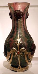Philippe wolfers, vaso art-nouveau, bruxelles 1900 ca