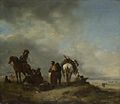 Philips Wouwerman - A View on a Seashore with Fishwives offering Fish to a Horseman (1650s).jpg