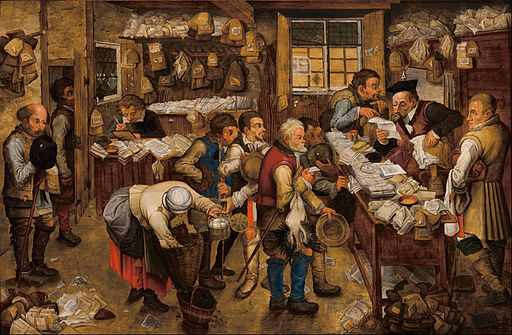 Pieter BRUEGHEL Ii - The tax-collector's office - Google Art Project