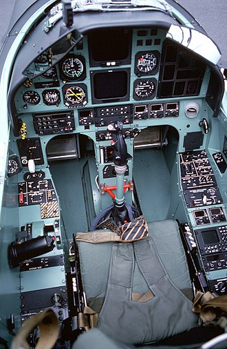 Pilatus PC-9 - A view of the interior of the cockpit of a Pilatus PC-9 aircraft.