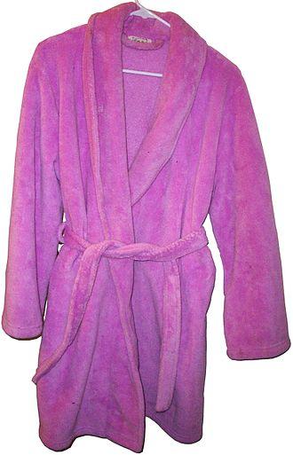 Velour - A pink velour bathrobe made of 100% polyester