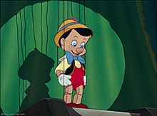 Picture of the puppet Pinocchio from the movie trailer for Walt Disney's Pinocchio
