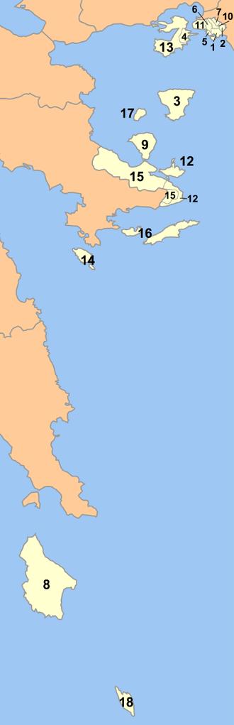 Piraeus Prefecture - Image: Pireas nomarchia municipalities numbered