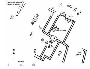 Español: Plano del sitio arqueológico de Tehua...