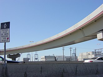 Box girder bridge - Single box girder bridge (steel), flyover above eastern approach of the San Francisco–Oakland Bay Bridge.