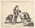 Plate 13- a peasant woman, seen from the back, holding a basket in center, a donkey to left and a horse with a pack on its back to right, from 'Diversi capricci' MET DP833178.jpg