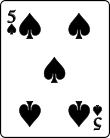 Playing card spade 5.svg