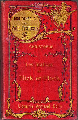 """Georges Colomb - Cover of Les Malices de Plick et Plock by Christophe, published in 1904 in the """"Bibliothèque du Petit Français"""" book series"""