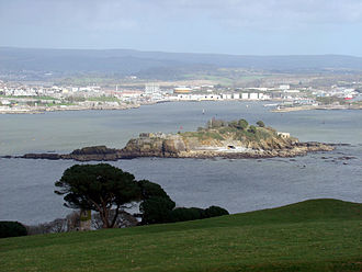 Drake's Island - ...as seen from the southern end of Mount Edgecumbe