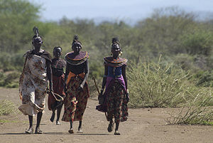 Pokot people - A group of Pokot women walk to a meeting