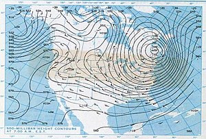 Polar vortex - Low pressure area over Quebec and Maine, part of the northern polar vortex weakening, on the record-setting cold morning of January 21, 1985