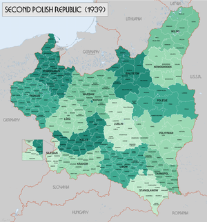 Territorial changes of Polish Voivodeships on April 1, 1938 - The Republic on 31st August 1939