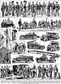 Pompiers sapeurs planche - Firefighters, firefighting, fire trucks, uniforms, historical, in France, illustrations, etc. - Public domain illustration from Larousse du XXème siècle 1932.jpg