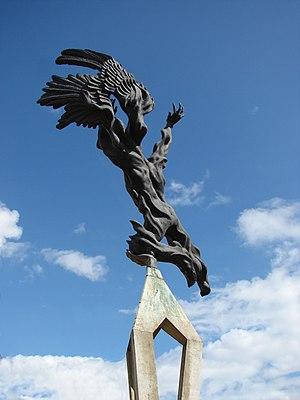Porfirio Barba-Jacob - Bronze and concrete monument to Porfirio Barba Jacob in the central municipal park of Santa Rosa de Osos in Antioquia, Colombia. The sculpture is by Rodrigo Arenas Betancur.