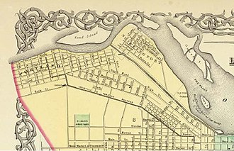 Louisville and Portland Canal - The route of the Louisville and Portland Canal in the 1850s.