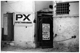 Base Exchange - An AAFES-operated Post Exchange (now closed) located at the old international airport in Mogadishu, Somalia, in January 1994.