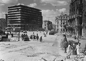 Potsdamer Platz, Berlin, 1945. On the left the...