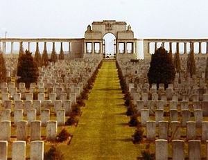 Pozières Memorial - View looking south-east across the cemetery towards the entrance archway