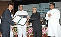 Pranab Mukherjee presenting the Sardar Patel Outstanding ICAR Institution Award, at the 85th Foundation Day Lecture of ICAR, in New Delhi. The Union Minister for Agriculture and Food Processing Industries.jpg
