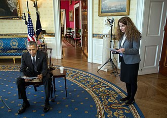 Sahar Nowrouzzadeh - President Barack Obama is briefed by Sahar Nowrouzzadeh, Director for Iran, NSC, before taping a Nowruz message to the Iranian people in the Blue Room of the White House, March 18, 2016. (Official White House Photo by Lawrence Jackson)