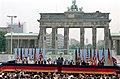 President Ronald Reagan delivering his Berlin Wall speech at Brandenburg Gate.jpg
