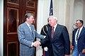 President Ronald Reagan shaking hands with Joe DiMaggio.jpg