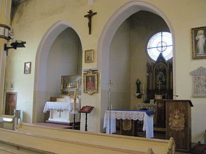 Simultaneum - Lutheran and Catholic altars in St. M. Kozal church in Gniezno, Poland