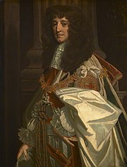 This painting of Prince Rupert shows an older man, posed sideways to the viewer. He is dressed in full state regalia, with gold chains and expensive clothes. His hair is long, black and curled. He looks older, but his facial experience looks slightly sardonic.