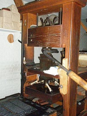 Elizabeth Timothy - Typical printing press of the 18th century