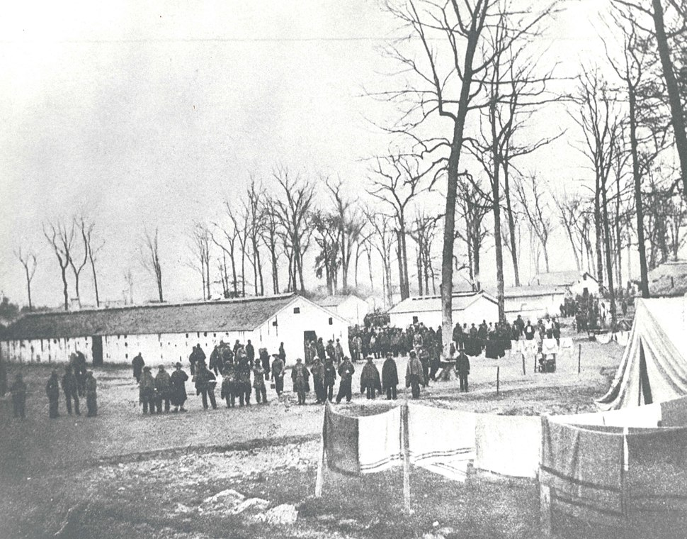 Prisoners at Camp Morton, c. 1863