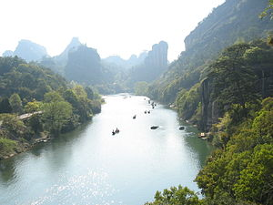 Wuyi Mountains - Punting on the River of Nine Bends, Wuyishan, China.