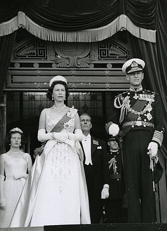Queen Elizabeth II at the Opening of Parliament in 1963 Queen Elizabeth II and Duke of Edinburgh 1963.jpg