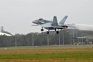 RAAF FA-18 taking off from RAAF Base Williamtown Feb 2011.JPG