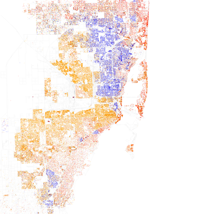 Map of racial distribution in Miami, 2010 U.S. Census. Each dot is 25 people: White, Hispanic, Black, Asian Race and ethnicity 2010- Miami (5560452404).png