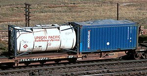 Tank car - Type of shipping containers mounted on a spine car: Tank container (left), and an open-top shipping container with canvas cover (right)