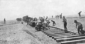 Battle of Romani - Laying the railway track across the Sinai Desert
