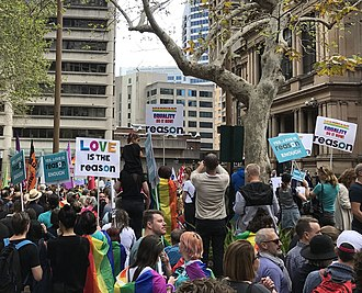 Reason Party (Australia) - Reason Party (Australia) supporters with placards at Yes Marriage Equality rally Sydney Town Hall 10 Sept 2017