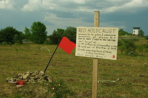 Mass killings under Communist regimes - Red Holocaust − still small pile of stones, commemorating the victims of communism, as such the first memorial in Germany (Jimmy Fell, 2011)